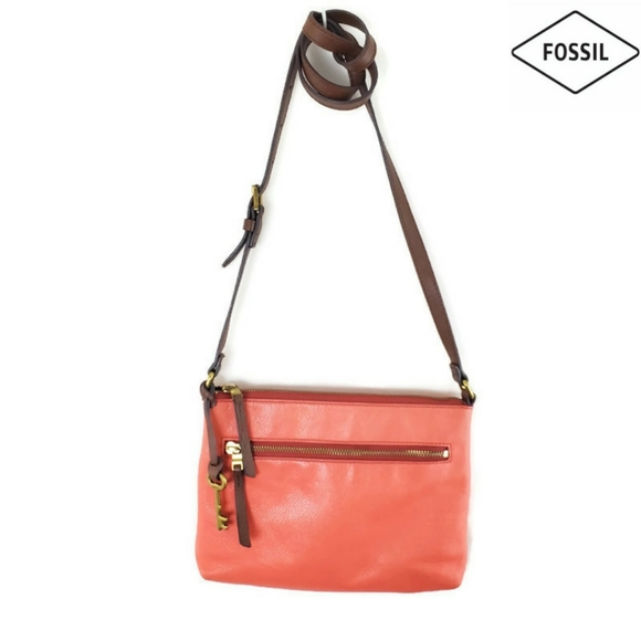 Fossil Handbags - Fossil Coral and Tan Leather Crossbody Key Purse